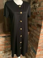 Vtg BEDFORD FAIR Women Dress Sz M Black Short Sleeve  Gold Button Front New