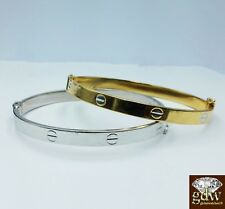 Real 14k Yellow Gold and White gold Vikings Bangle Bracelets for Women,Safe Lock