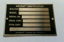 Aircraft Identification Nameplate Stainless Steel Aircraft ID Tag Data Plate