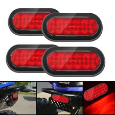 "4x LED RED 6"" 4 Trailer Truck Lights Oval Stop Turn Tail Light  Marine"