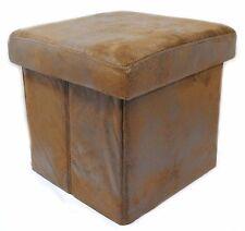 BOXY Storage Ottoman Brown Faux Leather Foldable Home Decor Folds Flat Brand New