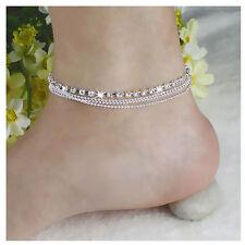 Ankle Bracelet Anklet Foot Jewelry Silver Tassels Crystal Rhinestone Bead Chain