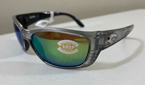 COSTA DEL MAR FISCH SILVER FRAME GREEN MIRROR LENS 580P FS 18 Polarized $200