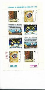 EL SALVADOR 1992 V CENT. DISCOVERY OF AMERICA, 500 years, Miniature Sheet MNH