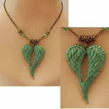Gold & Green Angel Wings Pendant Necklace Jewelry Handmade NEW Accessories