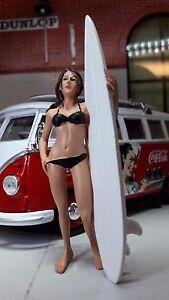 G LGB 1:24 Scale Figure Surfing Surfer Female Girl Chick & Surf Board VW Diorama