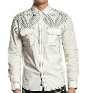 AMERICAN FIGHTER Men's Long Sleeve Button Down Shirt EXISTANCE Embroidered S-3XL