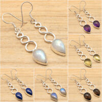925 Silver Plated Real LABRADORITE Earrings ! Multiple Gemstones Fashion Jewelry