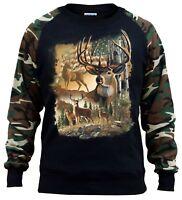 New Men's American Deer Forest Camo Raglan Sweatshirt Wildlife Hunting USA Flag