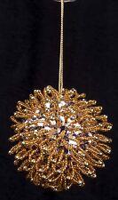 Vtg Christmas Hand Beaded Gold Sequin Glass Beads Ornament