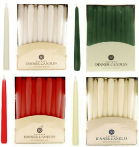 25cm Tapered Dinner Candles NON-DRIP Candels Home Party Church Bistro UK SELLER