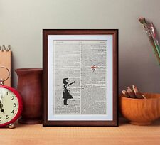 Banksy Flower Girl dictionary page art print reading books gift poster print art