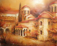 Impressionist oil painting landscape monastery signed
