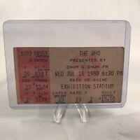 The Who Exhibition Stadium Toronto Ontario Concert Ticket Stub Vtg July 16 1980