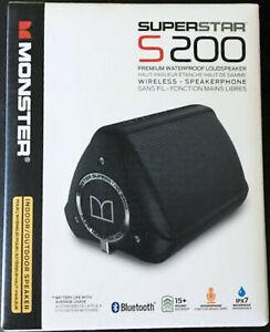 NEW Monster 129743-00 Superstar S200 Black Bluetooth Waterproof Speaker