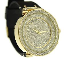 Men's Hip Hop Bling Watch Round Micro Pave Men Big Iced-Out Gold Tone Black Band