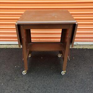 Vintage Drop Leaf Typewriter Table, Brown, Cole Stell U.S.A.