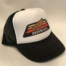 Honda Motorcycle Trucker Hat Race Vintage 80s Mesh Snapback Black Gold Wing ATC
