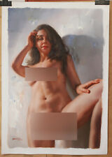 """Original oil on canvas Look up standing girl female nude hand-painted 24""""x36"""
