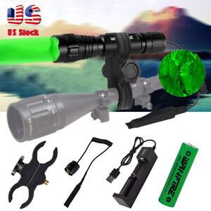 Hunting Green LED Coyote Pig Flashlight Rifle Weapon Gun Light for Barrel Mount