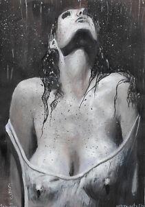 original painting A4 386UV art samovar modern Mixed Media female half-naked