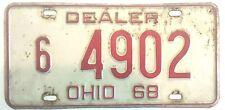 1968 Ohio Dealer License Plate. # 6 4902