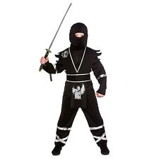 Boys Ninja Assassin Black Silver Fancy Dress Costume Halloween Outfit M