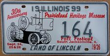 "Illinois 1999 ""Prairieland Museum"" USA Number License Plate American Tractor 164"