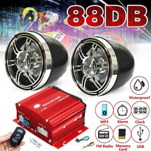 """12V 3"""" Motorcycle Audio MP3 Sound System SD FM USB Bluetooth Speaker For Ducati"""