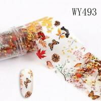 Fall Autumn Winter 3D Nail Art Stickers Maple Leaf Flower Nail Decor Decals UK