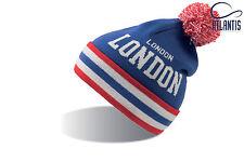 Bonnet city LONDON Bleu blanc Rouge pompon homme femme marque Atlantis