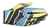 Alpinestars Racer Supermatic Gloves Black/Blue/Fluo Yellow Motocross Mx Off Road