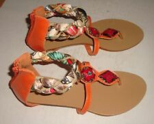 CUTE BEADED SUMMER FLATS *MISCHIEF* OPEN TOE/ ZIP UP BACK - ORANGE- Size 8