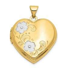 14K Yellow Gold and Rhodium Plated Floral Heart Locket