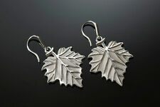 Sterling Silver High Relief, Hand Finished and Unique Sycamore Leaf Earrings