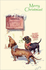 Dachshund Dogs Deliver Card Feriertag 1912 LARGE New Blank Christmas Note Cards