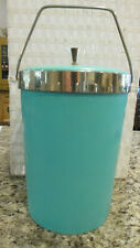 RETRO ICE BUCKET & LID WITH HANDLE PLAS-TEX TURQUOISE RUBBER INSULATED #PT605