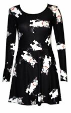 Women's Cute Cat Long Sleeve Flared Skater Swing Smock Mini Dress Goth Punk Emo
