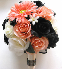 17 pc Wedding Bouquet Bridal Silk flowers PEACH BLACK CORAL DAISY Centerpieces