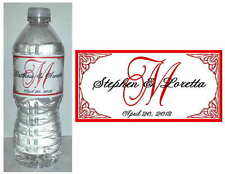 100  PERSONALIZED RED MONOGRAM WEDDING WATER BOTTLE LABELS  Waterproof Ink