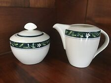 Mikasa Ultima French Vine Sugar Bowl w/ Lid Creamer SET Serving Piece Green Band
