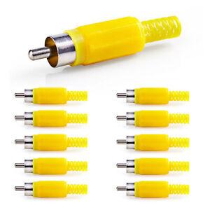 10x Cinch Stecker Gelb zum Löten mit Knickschutz RCA Audio Video stecker Chinch