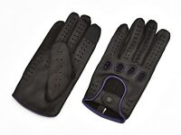 Men Stretchable Leather Driving Touch Screen Unlined Knuckle Holes Gloves