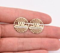 Round Diamond Cut the Last Supper Stud Earrings Real Solid 10k Yellow White Gold