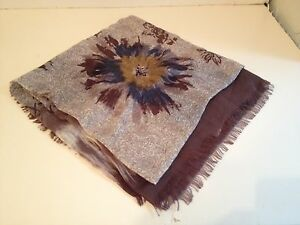 NWT Loro Piana Brown Blue Floral Cashmere Blend Wrap Scarf  FS