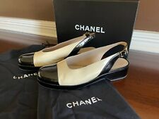 Chanel Slingback Two Tone Tan With Black Patent Leather Toe Low heel Shoes 38.5
