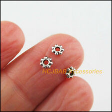 300 New Round Charms Tibetan Silver Tone Tiny Flower Spacer Beads 4mm