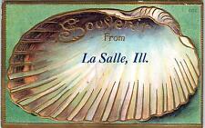 LA SALLE, Illinois  IL  SOUVENIR from LA SALLE SHELL BORDER Embossed    1908