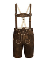 Lederhosen, Authentic Angermaier Goat Suede Leather Brown Mens Pants Size 46