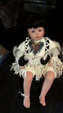 "CUTE PORCELAIN INDIAN GIRL DOLL BY RENEE 18""L. HAND DONE DETAILED"